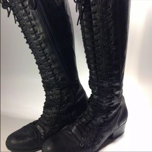 Ann demuelemeester lace up triple knee high boots